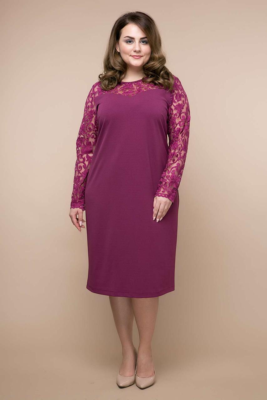ad4a1f1f3f6c9b3 Купить Нарядное платье из трикотажа с гипюром Большие размеры по ...