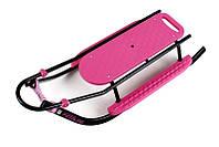 1251 Санки PICCOLINO Black Edition со спинкой + Ручка (с регулировкой) (розовый)