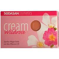 SODASAN. Органическое мыло-крем Wild roses для лица с маслами Ши и Диких роз,100г (190077)