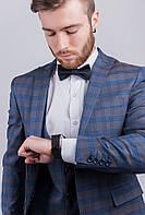 Стильный мужской пиджак в клетку. (Серо-синий). Арт-276F019.5