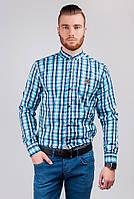 Рубашка мужская синяя в клетку №272F016 (Сине-голубой)
