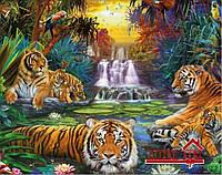 Картина для рисования камнями(стразами) тигры 40*50