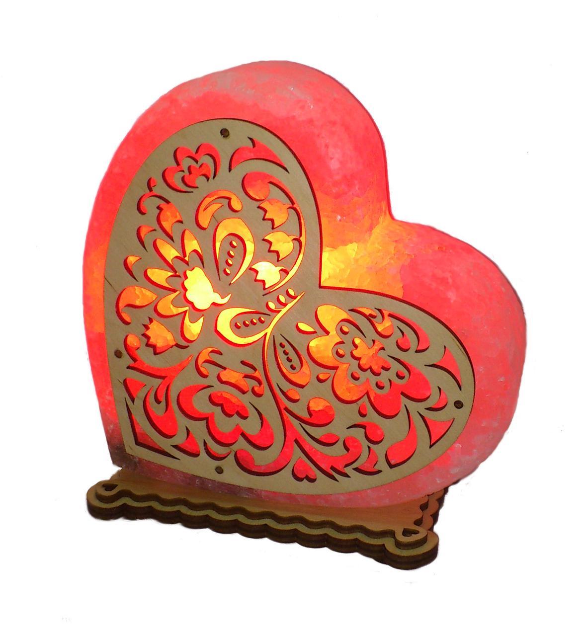 Соляной светильник Сердце большое с узором