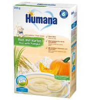 Humana. Каша безмолочная рисовая с тыквой, 200г (775689)