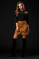 Женская стильная юбка-трапеция  из эко-замши рыжего цвета 6092