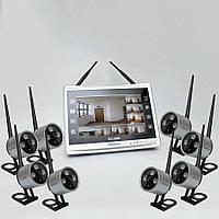 """Комплект беспроводного видеонаблюдения: видеорегистратор с 12"""" монитором и 8 видеокамер KIT-FHD128"""