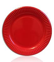 Тарелки бумажные одноразовые красные 18 см. 10 шт./уп.