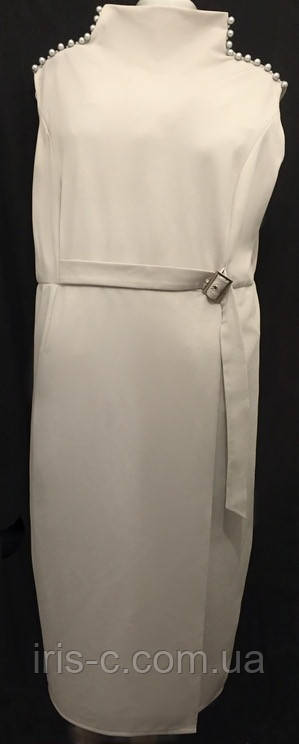 Платье женское, большой размер, элегантное, нарядное, жемчужно - серое, размер 54/56