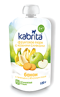 Kabrita. Фруктовое пюре с козьими сливками Kabrita Банан с печеньем и яблочным пюре с 8 месяцев, 100г (006888)