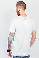 Футболка мужская модная со змейкой, короткий рукав №305F001 (Белый)