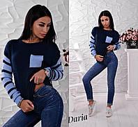 Вязаный свитер из турецкой пряжи с цветными вставками, женские свитера оптом от производителя