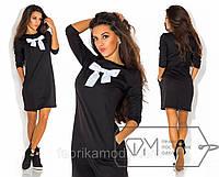 Повседневное платье мини прямое из трикотажа с длинным рукавом и бантом на груди Цвет черный 5458