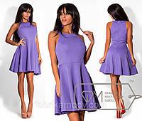 Платье мини из ткани кукуруза приталенное с американской проймой и расклешённой юбкой 6167