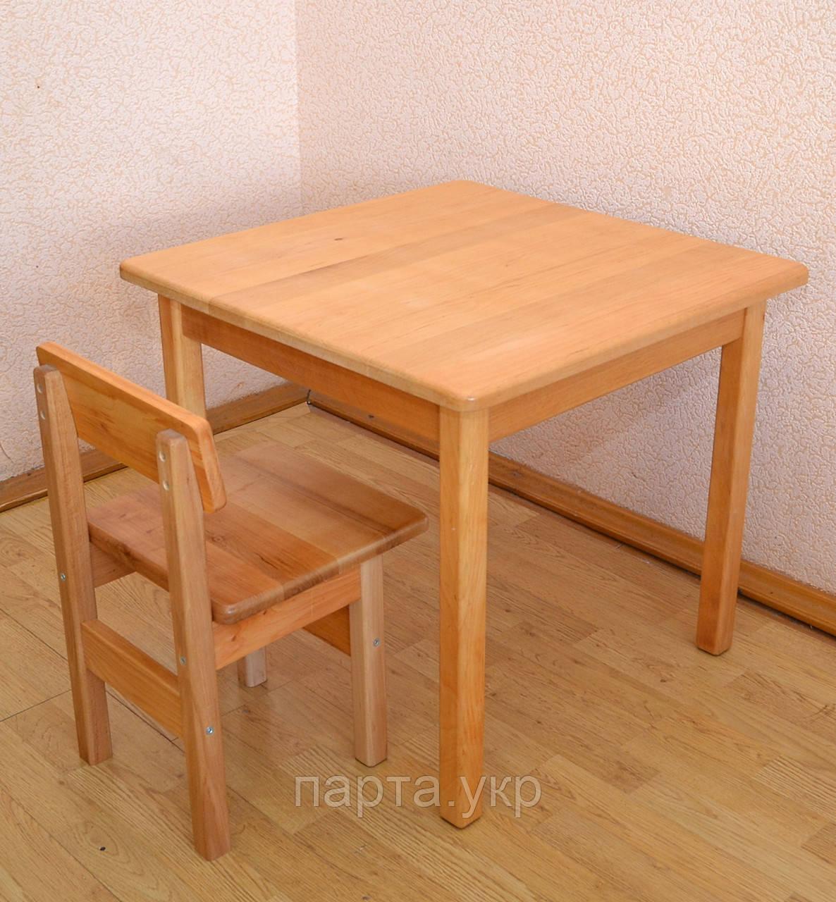 Детский стол и стул, Ольха