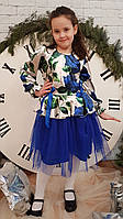 Платье для девочки София р.116-134 серый+электрик