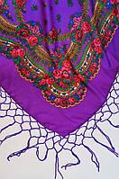 Украинский платок с бахромой фиолетовый