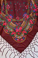 Украинский платок с бахромой коричневый