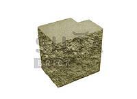 Заборный полублок декоративный полнотелый угловой 190×190x140 «Силта Брик» оливковый