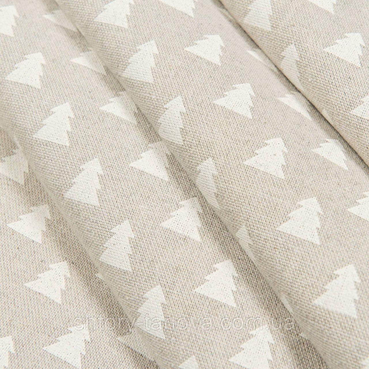 Декоративная ткань, хлопок 75%, полиэстер 25%, с новогодним принтом, ёлочки
