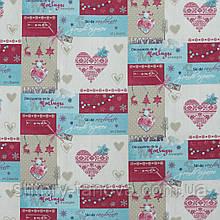 Новогодняя ткань в стиле пэчворк хлопок 75% для скатертей, салфеток, покрывал, подушек