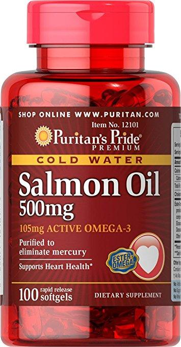 Puritan's Pride Salmon Oil 500 mg 100 softgels