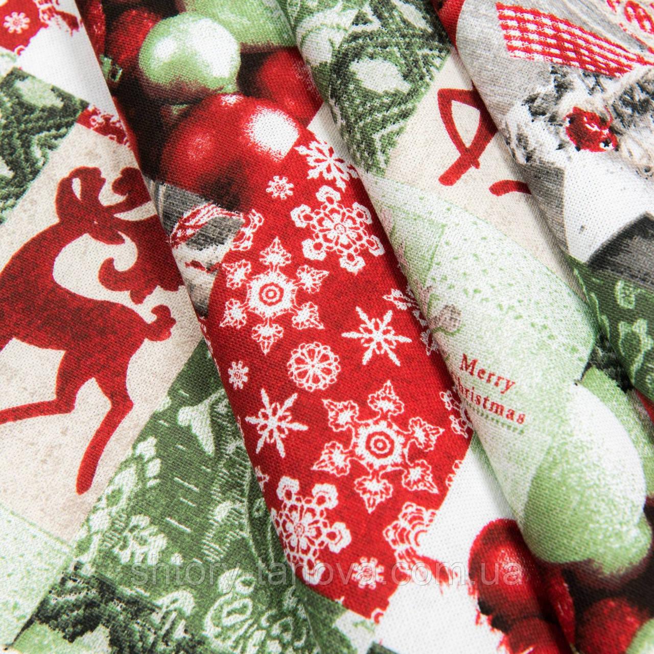 Декоративная ткань, хлопок 75%, полиэстер 25%, с новогодним принтом