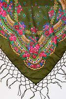 Украинский платок с бахромой оливковый