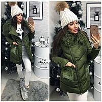 Куртка-пальто №01551 (наполнитель холлофайбер) Стильная новинка в 3 цветах в наличии