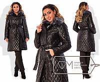 Пальто-тренчкот из стёганой плащёвки на подкладе со съёмным воротником из искусственного меха X4959