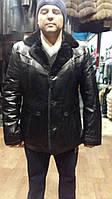 Модная кожанная мужская дубленка 2017 , кожанная куртка