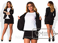 Костюм-двойка из ткани алекс - пиджак-блуза со вставкой-обманкой и юбка-шорты с карманами X5126
