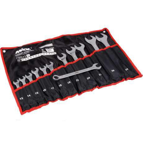 Набор ключей рожково-накидных CRV сатин, 12 шт, (13-32мм) в брезенте,PREMIUM Miol 51-714