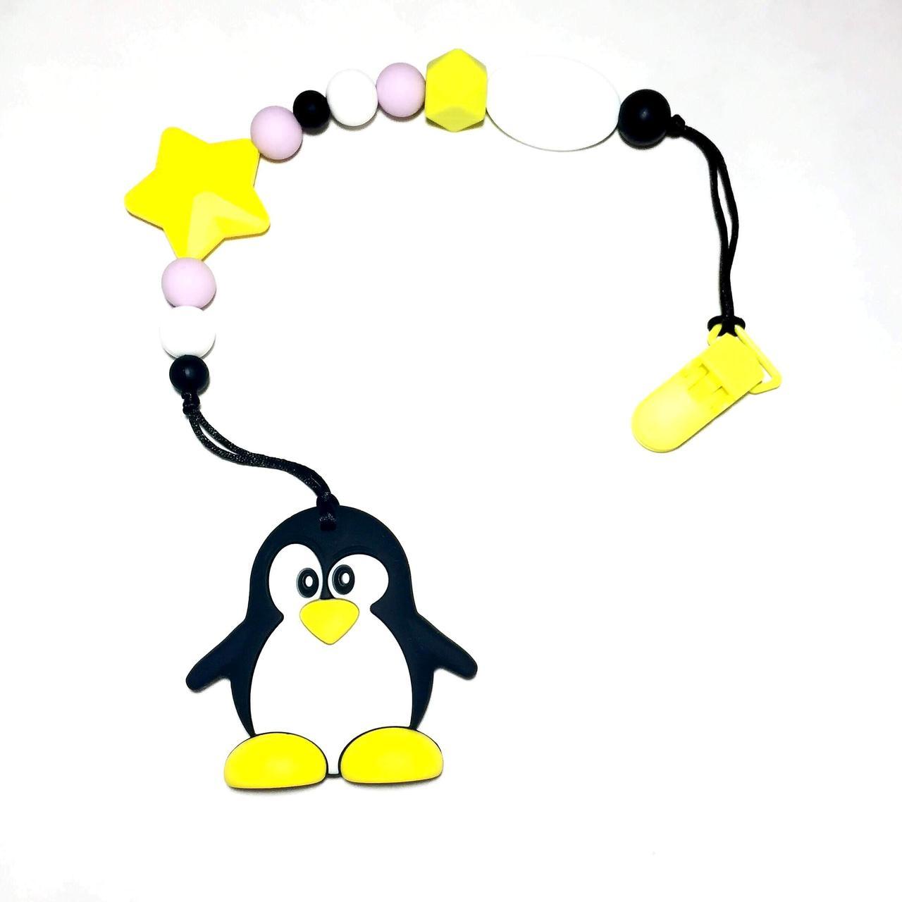 Силиконовый грызунок, лавандовый пингвин