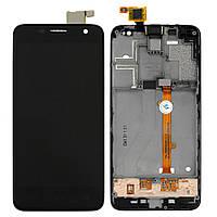 Дисплей (экран) для Alcatel One Touch 6012x Idol mini Sate с тачскрином в сборе, цвет черный, с передней панелью, оригинал