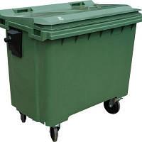 4х-колесный контейнер 1100л пластиковый с плоской крышкой