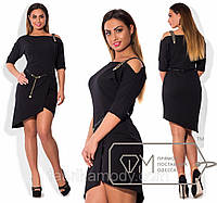 Платье мини из крепа с юбкой на асимметричный запах, декольте на одно плечо с декоративной лямкой и поясом X3814