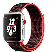 Apple Watch Nike+ 42mm Series 3 GPS + Cellular Silver Aluminum Case with Bright Crimson/Black Nike Sport Loop