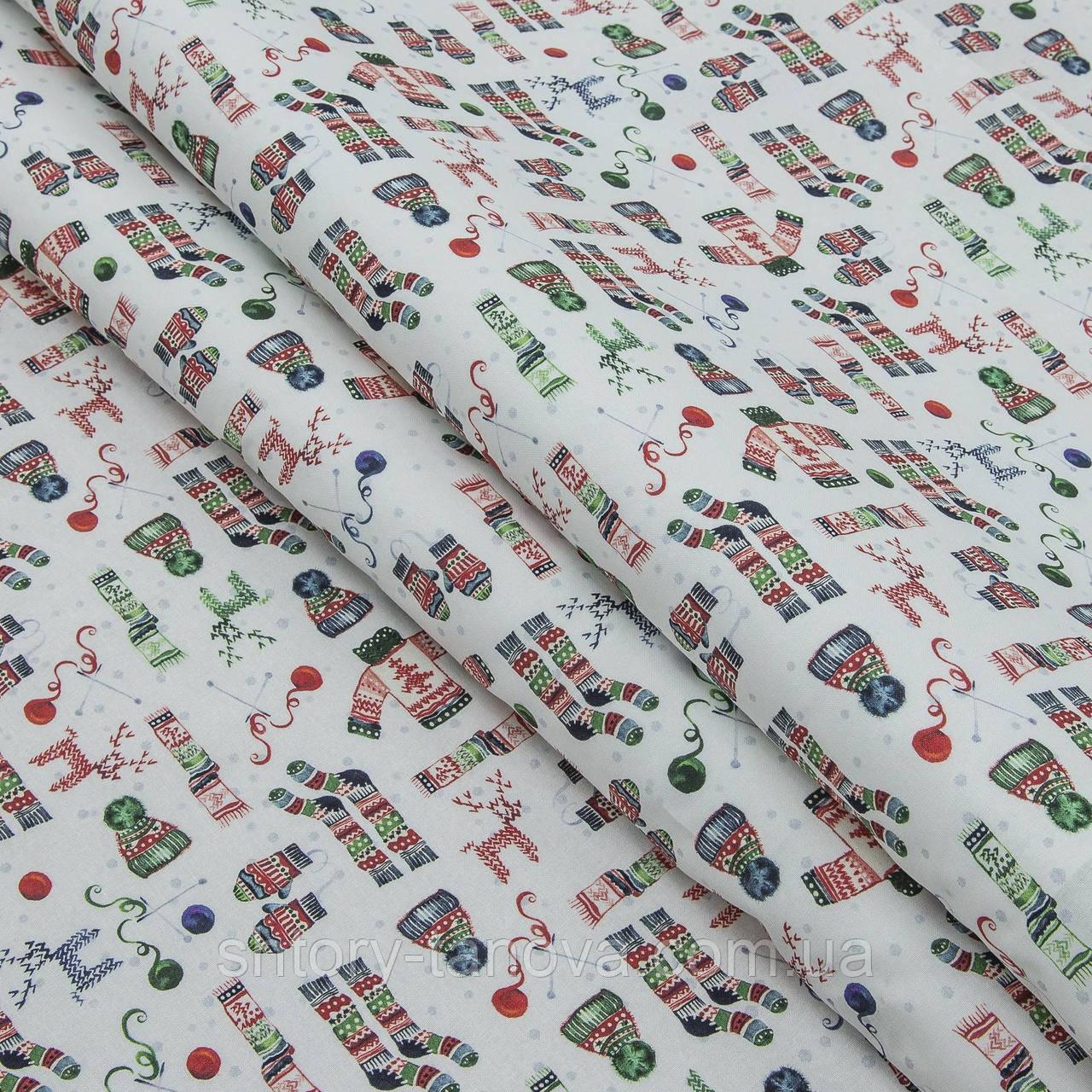 Декоративная ткань, хлопок 100%, с новогодним принтом