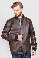 Классическая кожаная куртка мужская эко. (Коричневый). Арт-636K001.5