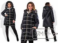 Пальто прямое из принт. кашемира и плащёвки на синтепоне и овчине с меховой опушкой на капюшоне X5567