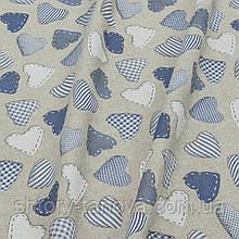 Ткань для новогодней скатерти и салфеток с голубыми сердечками хлопок 70%, Ткани для штор на метраж