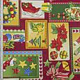 Декоративная ткань, хлопок 70%, полиэстер 30%, с новогодним принтом, зелёно-красный, фото 2