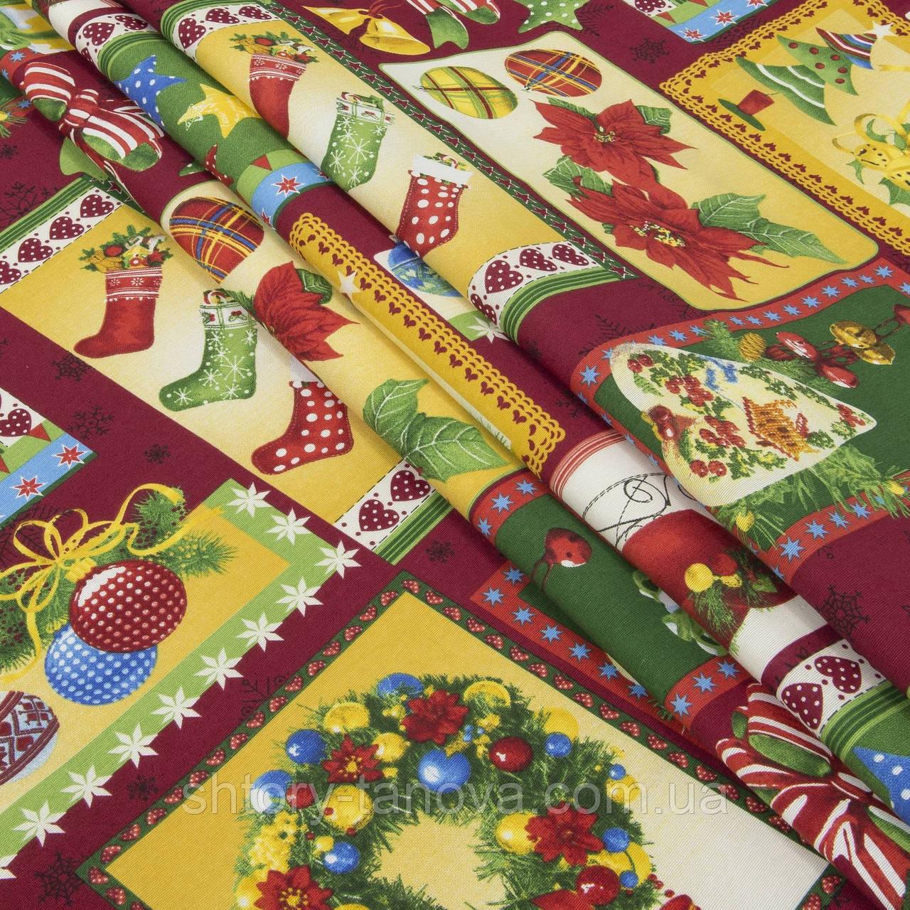 Декоративная ткань, хлопок 70%, полиэстер 30%, с новогодним принтом, зелёно-красный