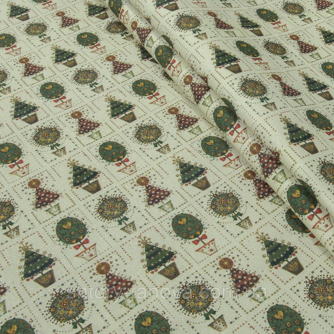 Декоративная ткань, хлопок 100%, с новогодним принтом, новогодние ёлочки