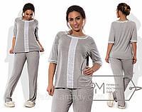 Домашний костюм из вискозы х/б - прямая футболка с отделкой вертикальной прошвой, кружевами и свободные штаны X5883
