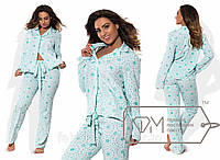 Домашний костюм из вискозного креп-шифона - прямая рубашка и приталенные штаны на завязках-лентах X5894