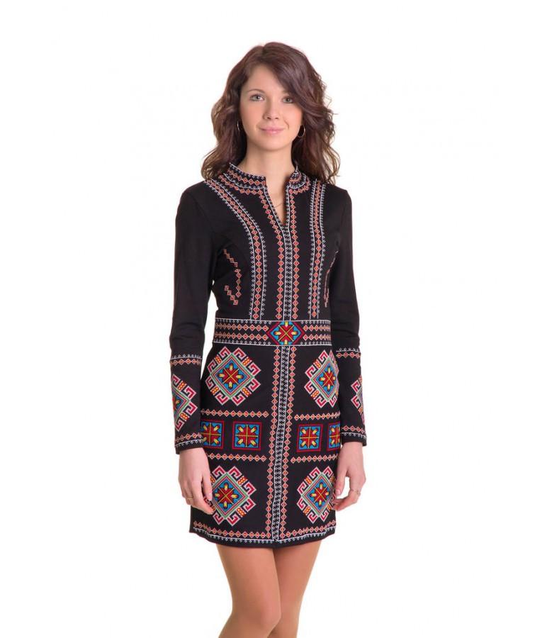 Чорне плаття вишите хрестиком «Карпатське»