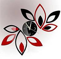 """УЦЕНКА!!! Часы зеркальные """"зеркальные черно-красные лепестки"""" , часы наклейки круги"""
