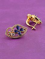 047966 Серьги 'XUPING' Фианит позолоченное украшение (ювелирная бижутерия)