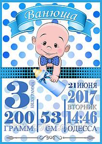 Метрика постер для мальчика Ванечка (укр/рус/en)